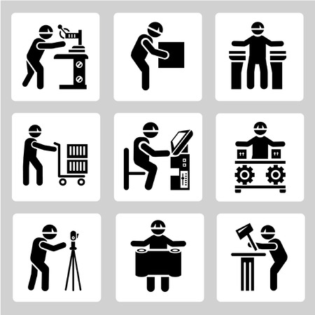 craftsmen: gente tecnico set, icone di lavoratori industriali interessati a predisporre Vettoriali
