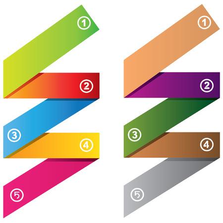 paper folding: five steps business diagram, folding paper diagram