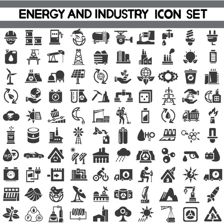 energie iconen, industrie iconen, ga groen pictogrammen, sparen energie pictogrammen, vector Stock Illustratie