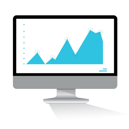 data monitoring icon, graph in computer screen Vector