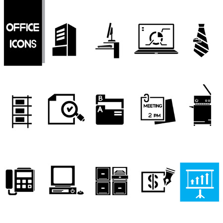 office icons set, business and office supplies Vector