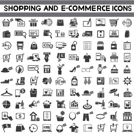 e コマースのアイコンを設定、ショッピング、マーケティングのアイコン