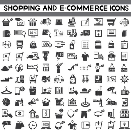 e money: e-commerce icon set, shopping, marketing icons