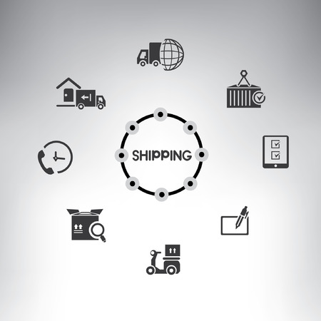 check system: shipping management system info graphic, shipping icons