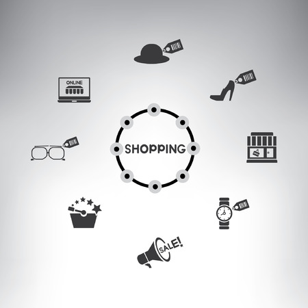 mapping: shopping icons, info graphic, shopping mind mapping