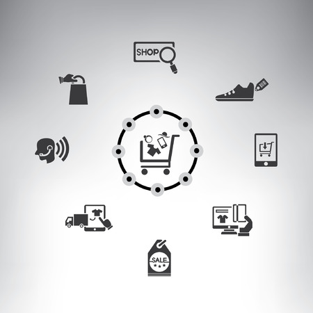 business mind: shopping and marketing system info graphic, e-commerce, online store system, icons set Illustration
