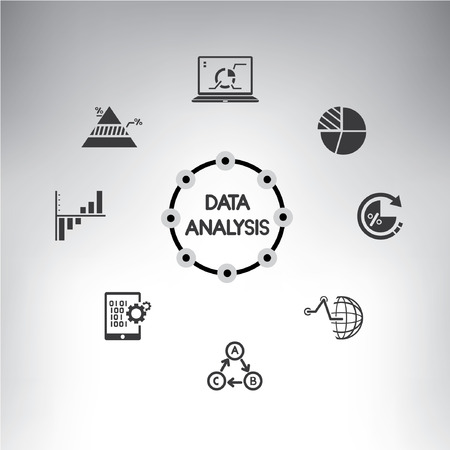 analytics: information management icons set, data analysis info graphic Illustration