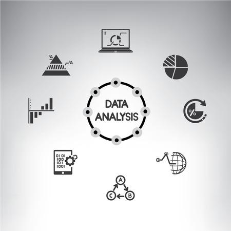 Informations-Management-Icons gesetzt, Datenanalyse Infografik
