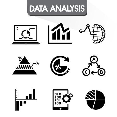 technologie: Údaje graf ikony sady, graf, analýza dat ikony