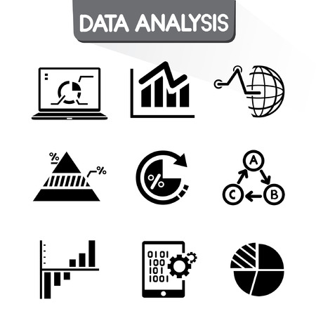 grafiek gegevens iconen set, grafiek, data-analyse pictogrammen Stock Illustratie