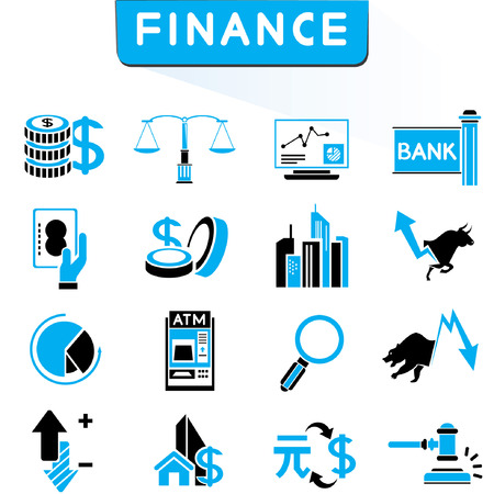 financial icons, blue theme icons Vector