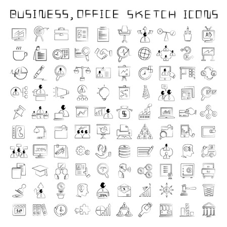 sketched icons: sketched human resource and business management icons, drawing style Illustration