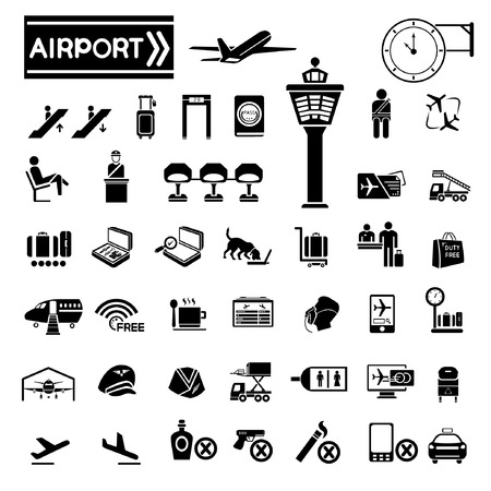 overdracht: luchthaven van iconen Stock Illustratie