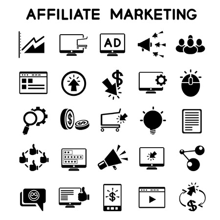video marketing: affiliate marketing icons set Illustration