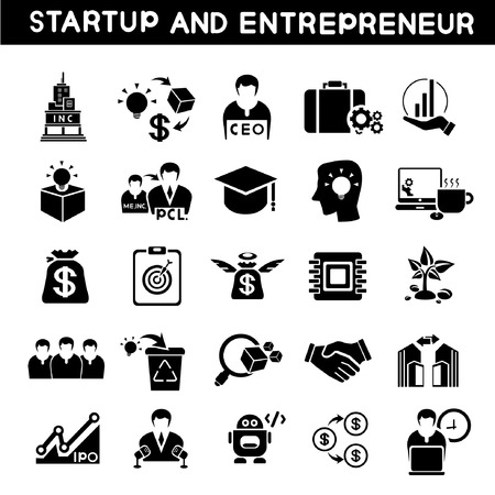 growth: entrepreneur icons set, start up business