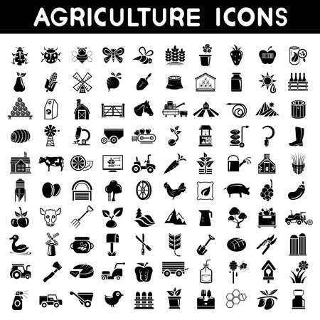 landbouw, iconen, Set, boerderij pictogrammen instellen