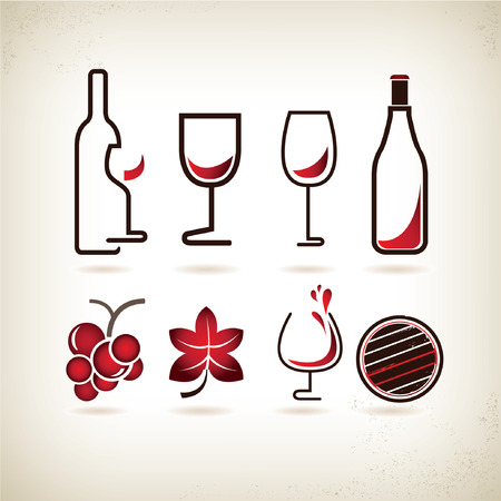 wine glass: wine icons set Illustration