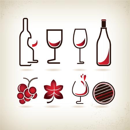 holiday food: wine icons set Illustration
