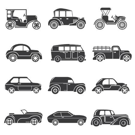 oldtimer pictogrammen, klassieke auto's
