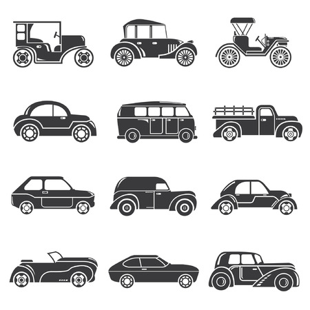 vintage car icons, classic cars Illustration