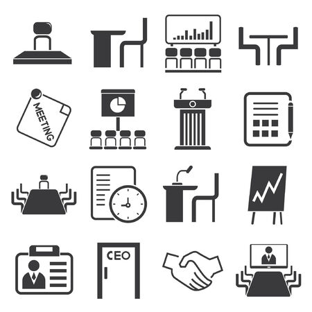 assignation: business meeting icons, business conference icons Illustration