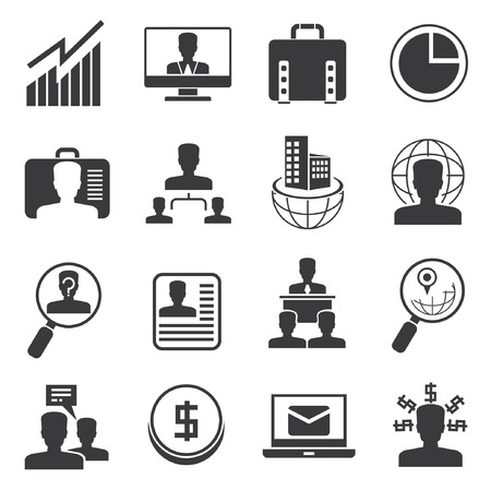organization management icons, office icons set Vector