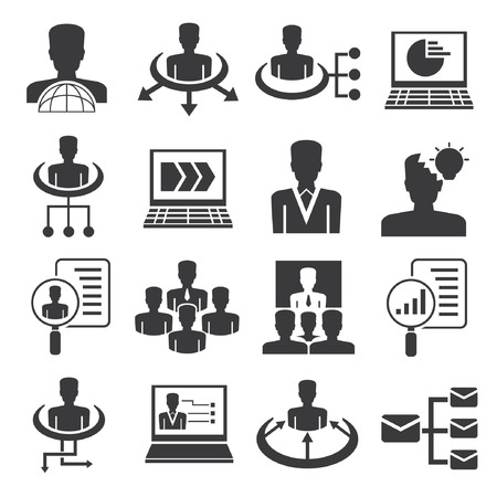 human resource icons, business management icons set Vector