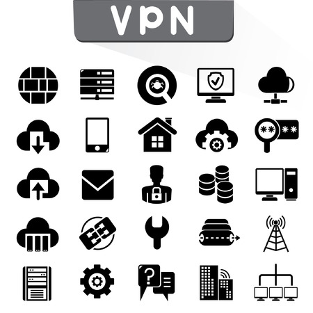 VPN, virtual private network icons Vector