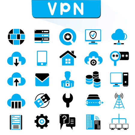 data center: VPN, virtual private network icons, blue color theme Illustration