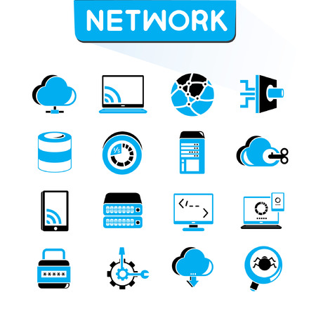 global settings: network icons set, vector set, blue color theme Illustration