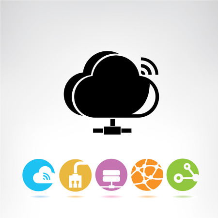 synchronizing: cloud computing, buttons Illustration