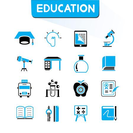 indoctrination: education icons set, vector set, blue color theme Illustration