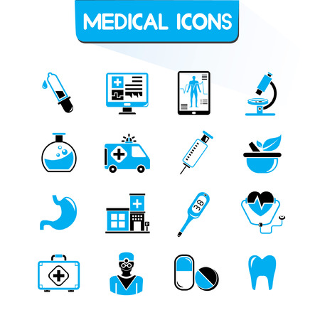 medical icons set, blue theme Vector