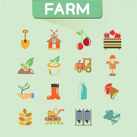 labranza: conjunto de iconos de la granja, los iconos de color, conjunto de vectores