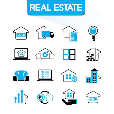 icônes de l'immobilier, thème de couleur bleu