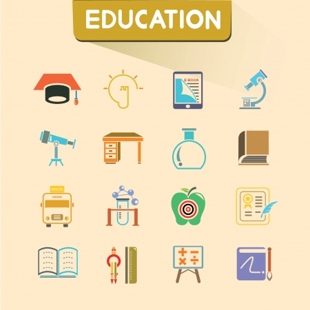 treatise: education icons set, color icons, vector set