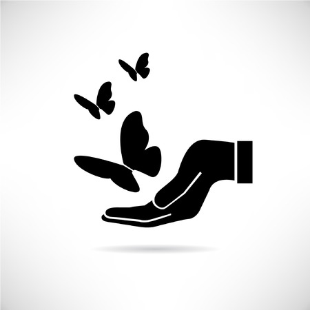freedom of expression: hand holding butterfly concept, love nature