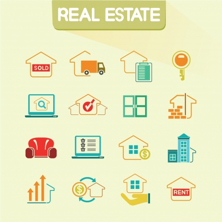 real estate agent: real estate icons set, color icons, vector set