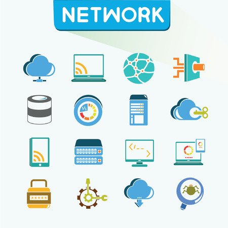 global settings: network icons set, vector, color icons, vector set