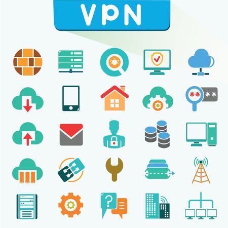 virus informatico: Iconos de redes privadas virtuales, los iconos de color, VPN, conjunto de vectores
