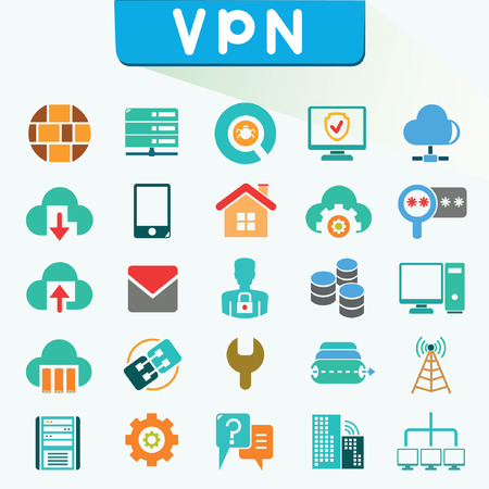 computer virus: virtual private network icons, color icons, VPN, vector set