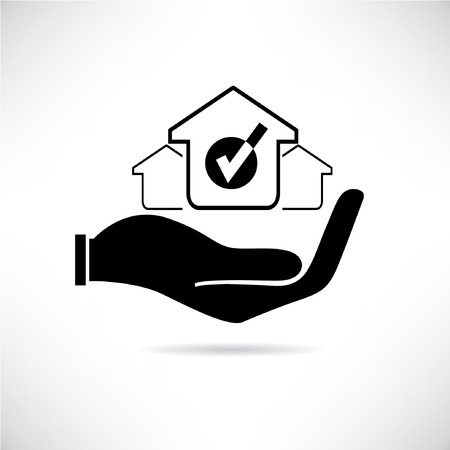 accommodation: real estate concept, hand holding a house concept  Illustration