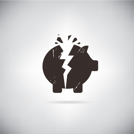 falling money: broken piggy bank symbol