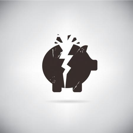 gebroken spaarvarken symbool Stock Illustratie