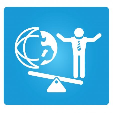 sphere standing: business man and global world on balance symbol Illustration