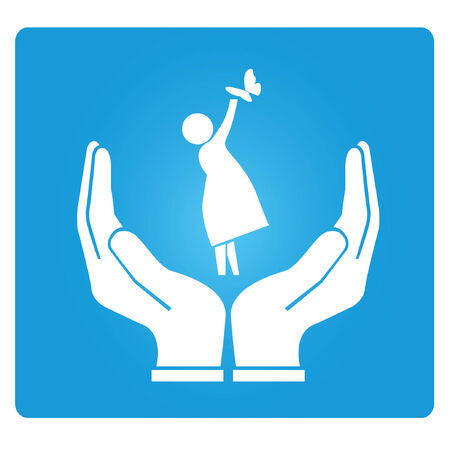 kids holding hands: health care, life care, hand holding a baby concept Illustration