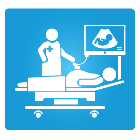 test equipment: pregnant woman getting ultrasound, ultrasound symbol