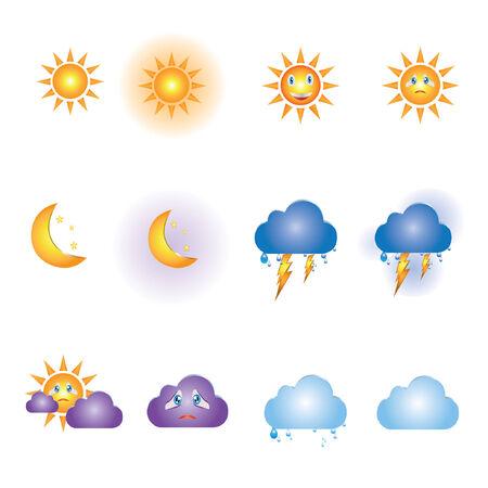 iconos del clima: iconos del tiempo Vectores