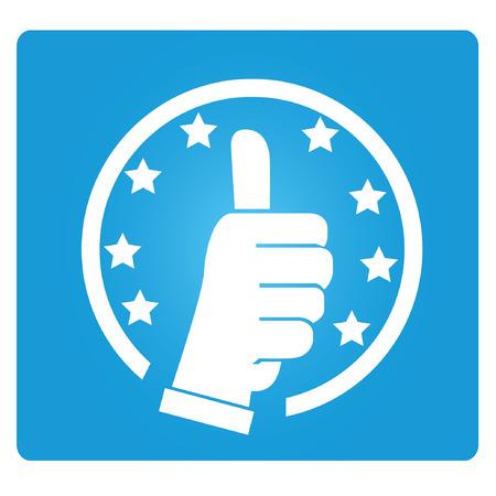 underwrite: thump up, guarantee symbol