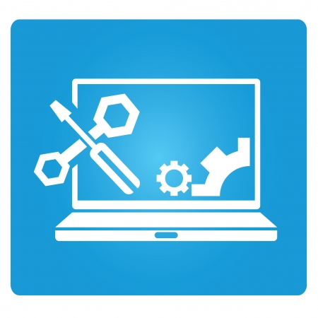 fix gear: computer repair service, technical support Illustration